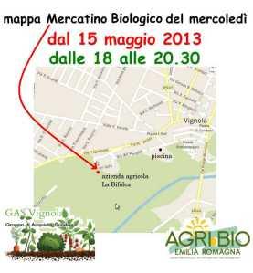 Mappa con l'indicazione dell'azienda agricola La Bifolca, in via dei Gelsi a Vignola.