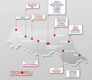 """La rete dei """"tecnopoli"""" in Emilia-Romagna, ovvero Rete Regionale per l'Alta Tecnologia (fonte: RER)"""