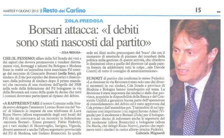 Il Resto del Carlino - Bologna del 9 giugno 2015, p.15.