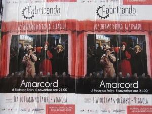 Manifesti della prima serata, dedicata alla proiezione di Amarcord di Federico Fellini (foto del 6 novembre 2015)